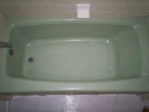 cleaned tub for refinishing