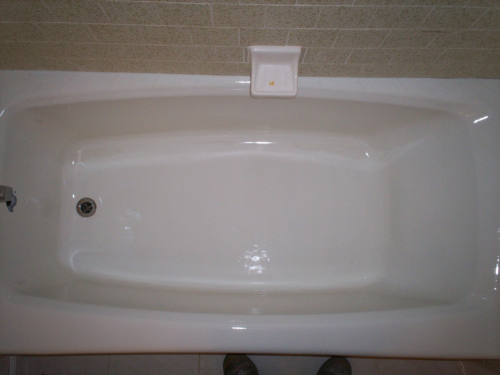 Refinished tub curing