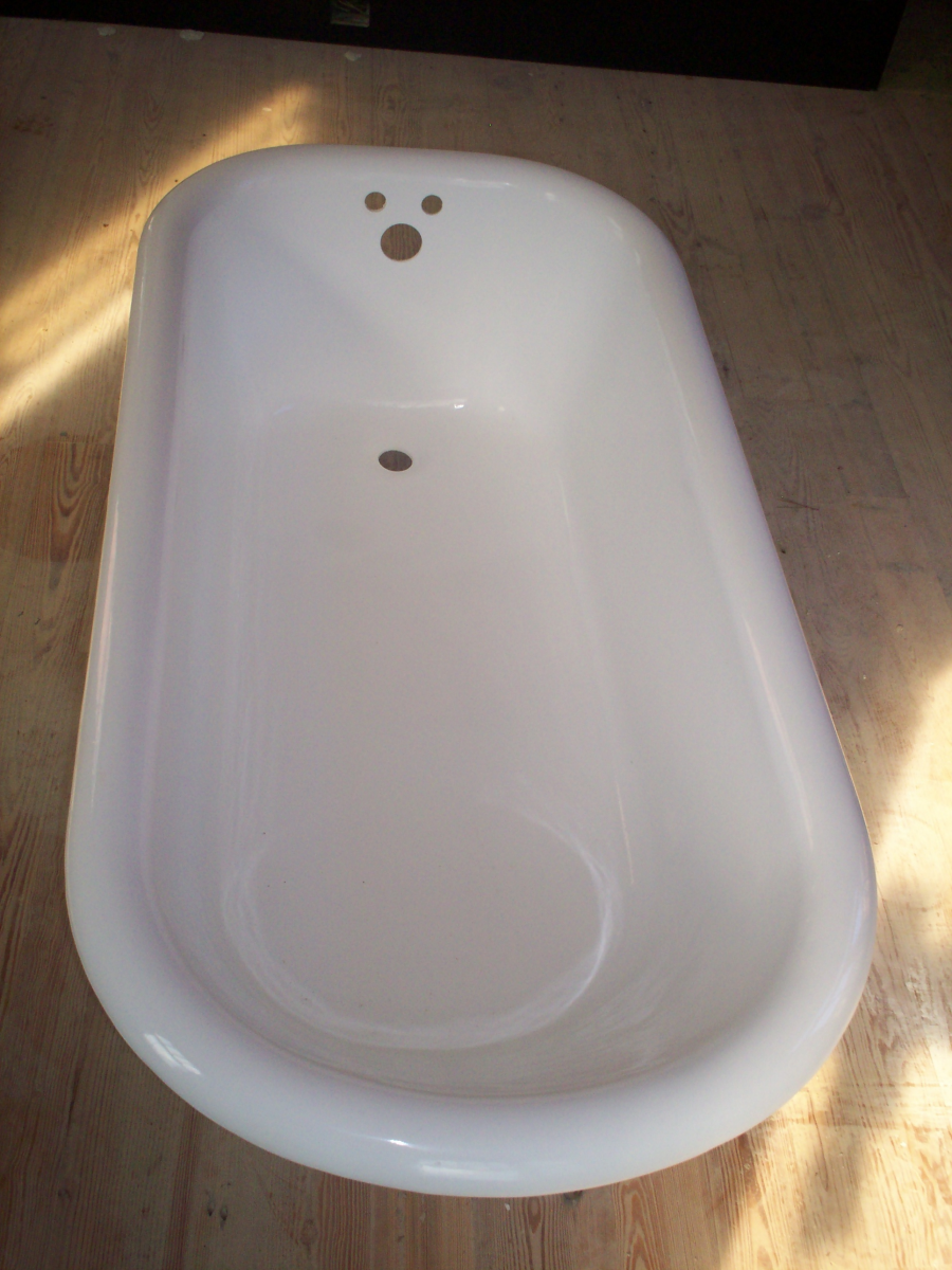 Strip and refinish porcelain tub