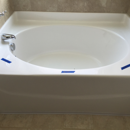 tub marked with tape for polising